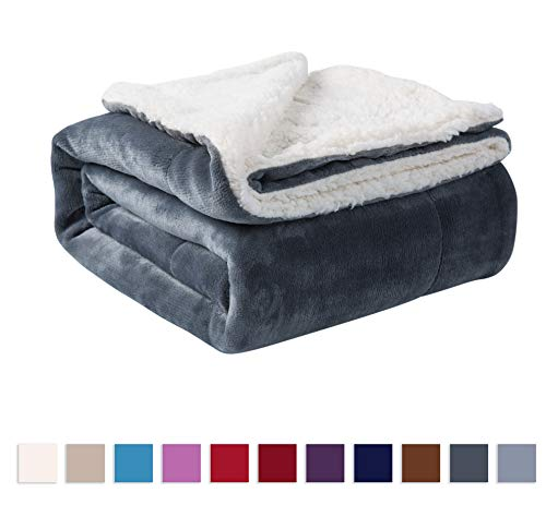 NANPIPER Sherpa Blanket Twin Thick Warm Blanket for Winter Bed Super Soft Fuzzy Flannel Fleece/Wool Like Reversible Velvet Plush Blanket (Grey Twin Size 60