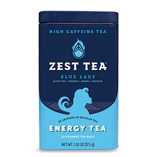 Zest Tea Premium Energy Hot Tea, High Caffeine Blend Natural & Healthy Traditional Black Coffee Substitute, Perfect for Keto, 150 mg Caffeine per Serving, Blue Lady Black Tea, Tin of 15 Sachet Bags ()