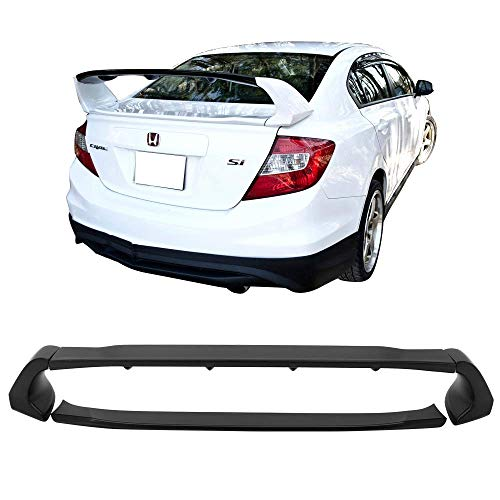 012-2015 Honda Civic | Unpainted ABS Car Exterior Trunk Spoiler Rear Wing Tail Roof Top Lid by IKON MOTORSPORTS | 2013 2014 ()
