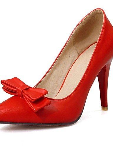 GGX/ Damen-High Heels-Büro / Lässig-PU-Stöckelabsatz-Absätze / Spitzschuh-Schwarz / Rot / Weiß red-us10.5 / eu42 / uk8.5 / cn43