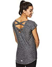 Active Women's Criss Cross Back Workout Cap T-Shirt - Strappy Open Back Gym Top