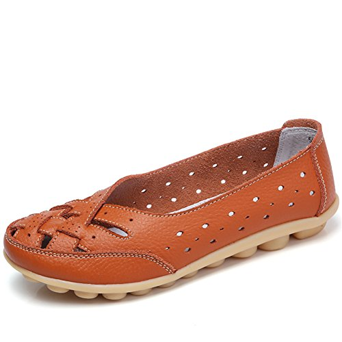 Women Leather Shoes Color Flats Slip On Loafers Orange - 3