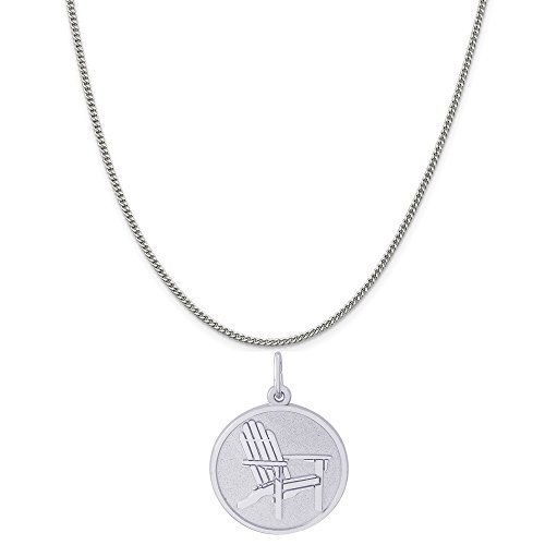 (Rembrandt Charms 14K White Gold Deck Chair Charm on a 14K White Gold Curb Chain Necklace, 16