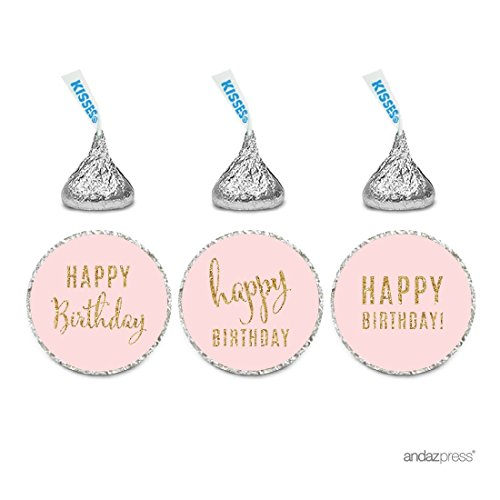 Andaz Press Gold Glitter Print Chocolate Drop Labels Stickers, Happy Birthday, Blush Pink, 216-Pack, Not Real Glitter, for Hershey's Kisses Party Favors]()