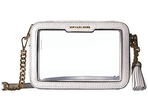 Michael Kors Medium Camera Crossbody Handbag in White Clear (Clear Michael Kors Handbags)