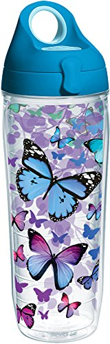 Tervis 1231948 Blue Endless Butterfly Tumbler with Wrap and Turquoise Lid 24oz Water Bottle, Clear