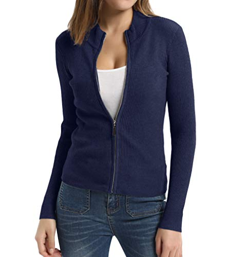 Women's Knit Zipper Jacket Casual Long Sleeve Work Sweater Tops Navy Blue -