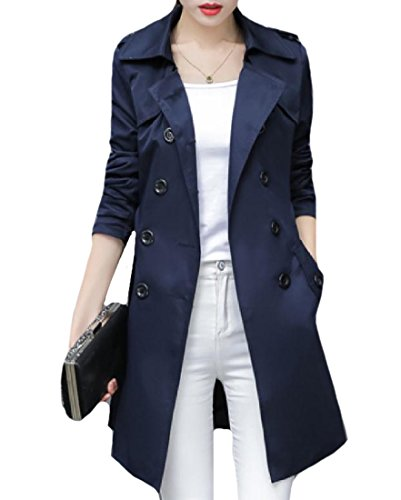 Shoulder Trench - Fseason-Women Cotton Blend Oversized Trench Coat With Shoulder Straps Navy Blue L