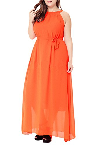Floral Orange Bohemian Print Chiffon Maxi Dresses Afibi Sleeveless Beach Women's Ez1n6xfwqt
