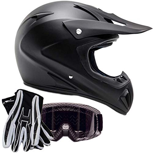 Typhoon ATV MX Helmet Goggles Gloves Gear Combo Matte Black Carbon Fiber (Medium)