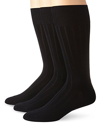 Calvin Klein Men's 3 Pack Cotton Rich Dress Rib Socks, Black, Shoe Size 7 - 12