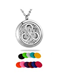 "HooAMI Aromatherapy Essential Oil Diffuser Necklace - 316L Stainless Steel Celtic Knot/Tree of Life/Chrysanthemum/Sky Clouds Locket Pendant,24"" Chain and 12 Refill Pads"