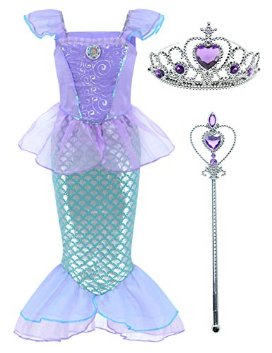 Little Mermaid Princess Ariel Costume for Girls Dress Up Party with Crown Mace (L,120cm) Pink]()