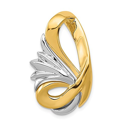 - 14K Two-tone Gold Fits up to 6mm Reg/10mm Fancy Reversible Omega Slide Pendant from Roy Rose Jewelry