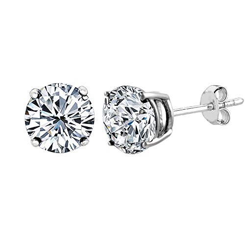 14k White Gold Round Cut White Cubic Zirconia Stud Earrings, 7mm