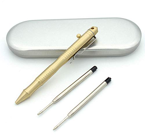 - ILEAF Solid Brass EDC Ballpoint Pen, Portable Delicate Signature Pen with Pencil Case and 2 Extra Black Refills