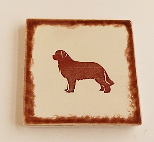 Newfoundland Silhouette Coasters Square Set of 4 Rustic Handpainted Ceramic