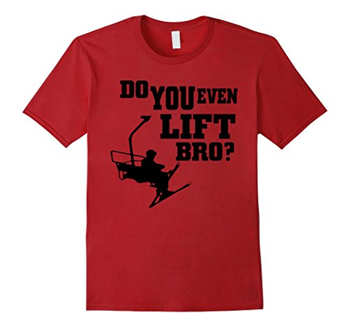 Mens Skiing T-shirt - Do you even lift bro Large Cranberry