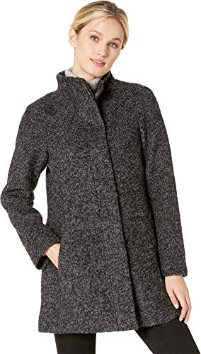 Anne Klein Women's Boucle Stand Collar Coat Black/Charcoal Large -