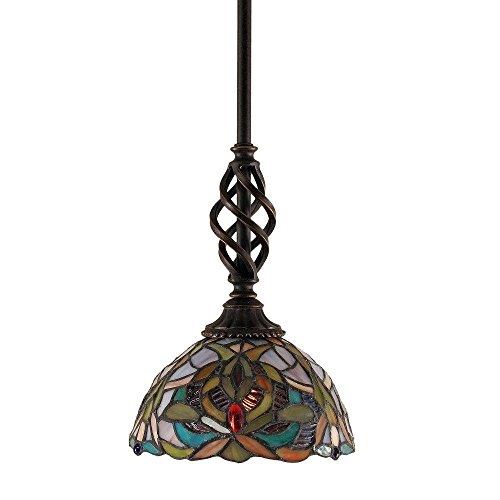 Toltec Lighting 80-DG-9905 Eleganté Mini Pendant with Hang Straight Swivel with 7″ Kaleidoscope Tiffany Glass, Dark Granite Finish