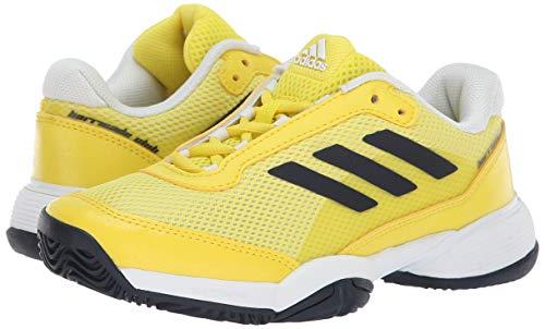 adidas Unisex Barricade Xj Tennis Shoe, Yellow/Legend Ink/White, 1 US Big Kid
