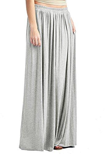 Jersey Maxi Long Skirt (CoutureBridal Light Grey Women's Spandex High Waist Shirring Jersey Maxi Skirt With Pockets)