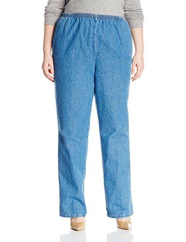 Chic Classic Collection Women's Size Plus Stretch Elastic Waist Pull-On Pant, Destruction Blue Denim, 18W ()