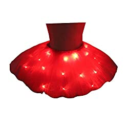 Tutu Skirt Red LED Light Up Ballet Dance Running Skirt