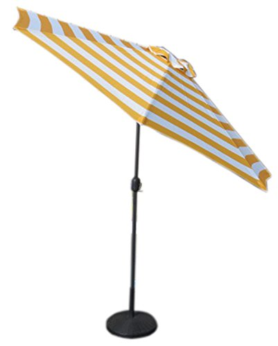 VMI M-03581 Striped Umbrella, Large, Yellow - This item has a polyester fabric This item will not only add to your decor but also let you enjoy your terrace, balcony or your backyard without sun hitting you This umbrella does not come with the stand - shades-parasols, patio-furniture, patio - 418e7eWLpLL -