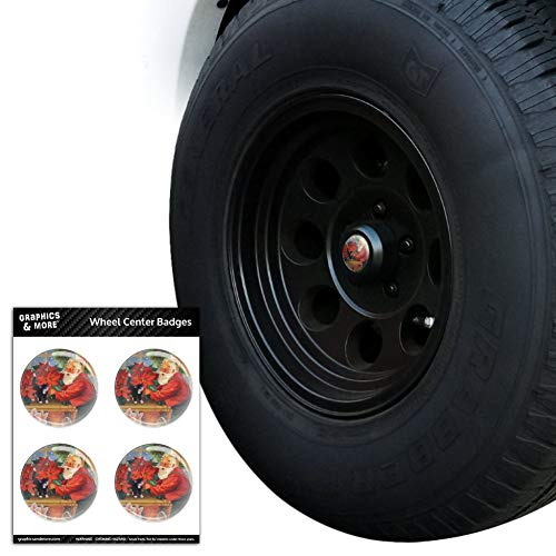 Graphics and More Christmas Holiday Santa in The Greenhouse Tire Wheel Center Cap Resin-Topped Badges Stickers - 1.8