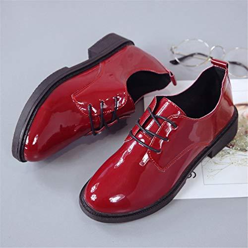 Rojo Zapatos Oxford Para Vintage Bombas Vestido Manoletinas Tacón Damas Clásicas Bajo De Altos Fiesta Mujeres Talón Las Casual f1TqT