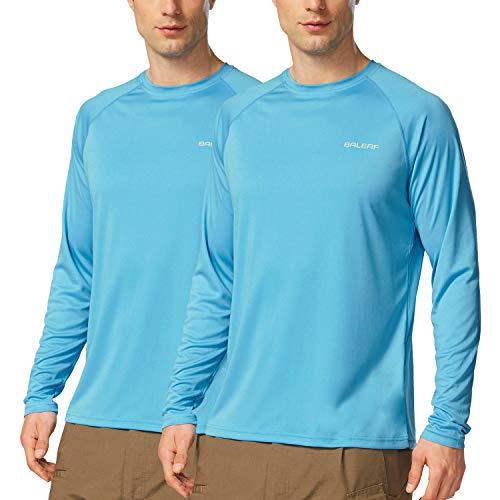 - Baleaf Men's UPF 50+ Sun Protection Basic Long Sleeve Performance T-Shirt 2 Pack Blue Size XXXL