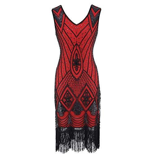 1920s Dress Great Gatsby Dress Vintage Flapper Costume Astrid Short Dress Sequin with Tassel Halloween Fancy Dress (M, Red)