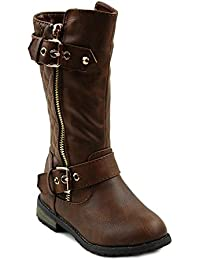 Little Girls New Knee High Flat Riding Boots Shoes, Brown, Little Kid 13
