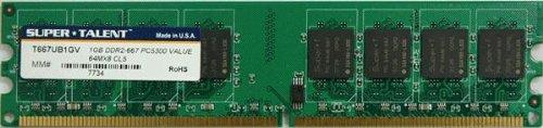 Super Talent DDR2-667 1 GB/64x8 Memory T667UB1GV - Bulk