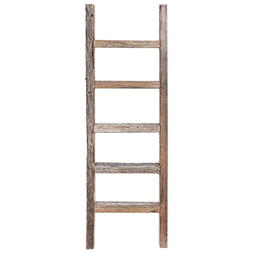 Decorative Ladder – Reclaimed Old Wooden Ladder 4 Foot Rustic Barn Wood (Mini Ladder)