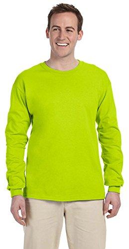 - Gildan Ultra Cotton 6 oz. Long-Sleeve T-Shirt, 2XL, SAFETY GREEN