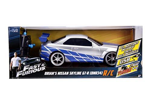 JADA Toys Fast & Furious Brian's Nissan Skyline GT-R (Bnr34)- Ready to Run R/C Radio Control Toy Vehicle, 1: 16 Scale 6
