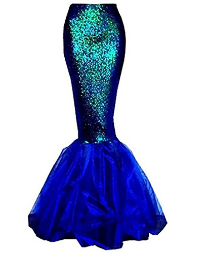 Sexy Women Mermaid Dress, Halloween Costume Fancy Party Glitter Sparkle Sequins Long Tail Skirt (Blue, -