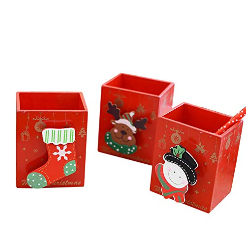 (Wooden Pen Holder Display Stand,Shmei Snowman Penbook Office Stationery Festivals/Christmas Desktops Decoration)