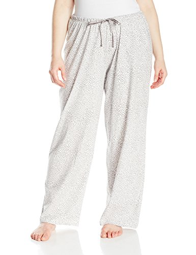 - HUE Printed Knit Long Pajama Sleep Pant Plus Women's, Off Off White/Rita Cheetah, 3X