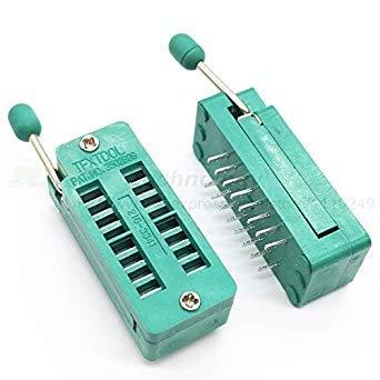 Sellify Conectores 2 PC//porci/Ã/³n 14 16 18 20 24 28 32 40 P Pin 2,54 Mm verde Dip universal ZIF Ic Z/Ã/³calo de prueba de soldadura Tipo Rrd 14P Color: 14P