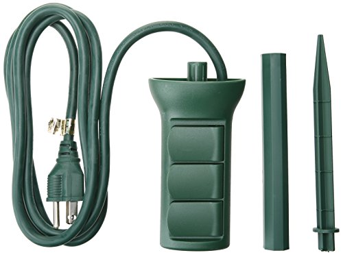 (Master Electrician  SP-049 3 outlet Power Stake, Green)