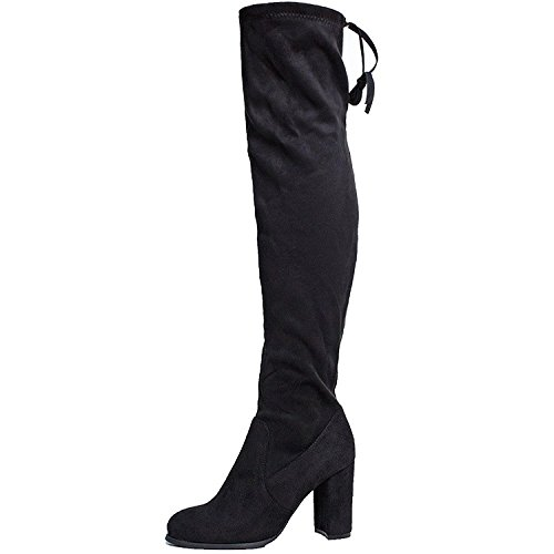 SheSole Women's Over Knee Thigh High Heel Black Boots Size US 9 (Thigh High Boot Buckle)