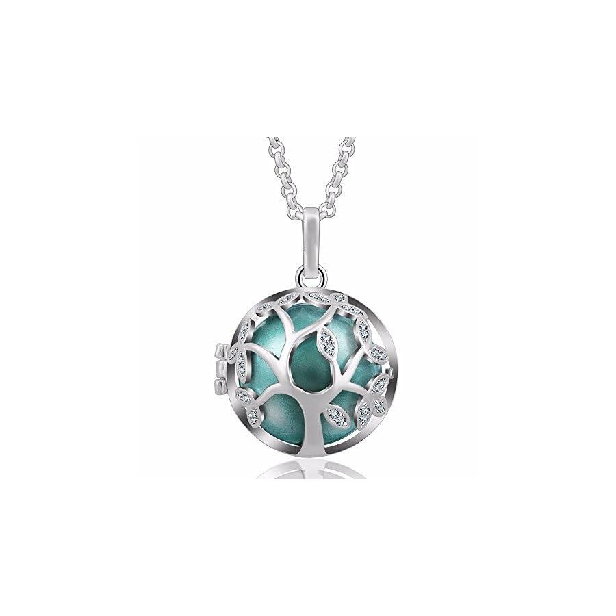 "EUDORA Tree of Life 20mm Czech Rhinestuds Harmony Ball Pendant Chime Necklace Elegant Prayer Bell,30"" Chain"