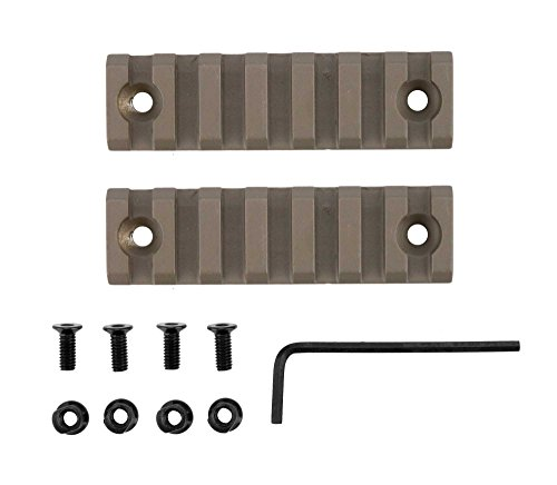 Monstrum Tactical Small (7 Slot/3 inch) Picatinny Rail for Keymod Systems (Flat Dark Earth x 2) (Floating Quad Rail)