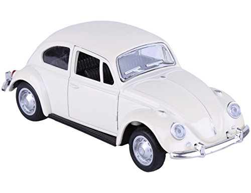 Berry President Classic 1967 Volkswagen Vw Classic Beetle Bug Vintage 1/32 Scale Diecast Metal Pull Back Car with Sound and Light Model Toy for Gift/Kids (Beige)