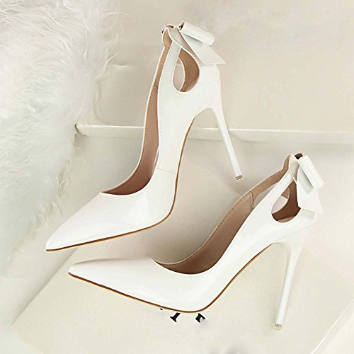 Wealsex Women's Ladies Pointed Toe High Heels Patent Leather Court Shoes Pump Stiletto Heel OL Sexy Office Party Bridal Wedding Dress Bow Shoes White SXM8m7