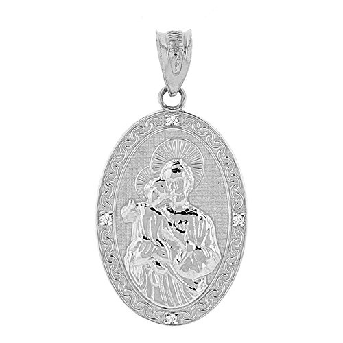 Saint Collection Fine 925 Sterling Silver CZ-Accented St Joseph Oval Medal Pendant (1.15
