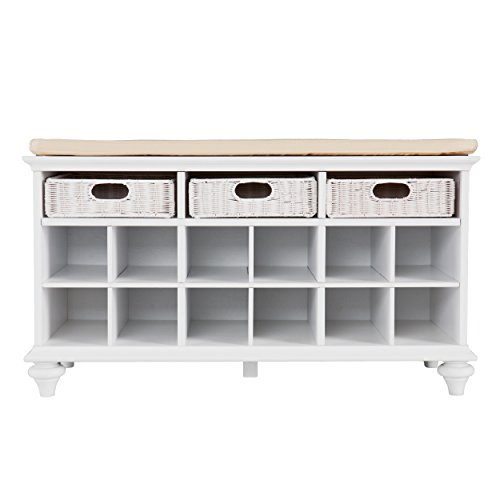 Chelmsford Entryway Storage Bench - Shoe Cubbies w/ Fixed Shelves - White - Shoe Mudroom Storage